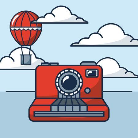 creative idea clouds hot air balloon vector illustration