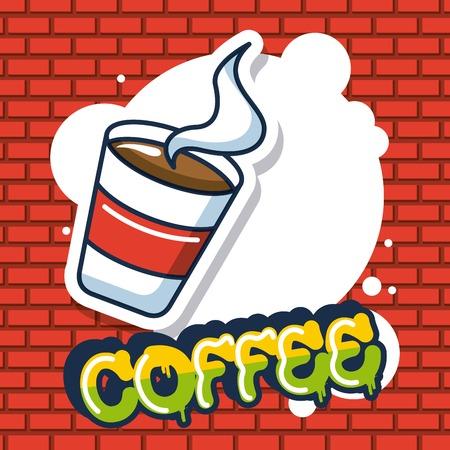 creative idea cup coffee bubble sign colors vector illustration