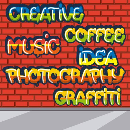 creative idea coffee photography graffiti music colors signs vector illustration