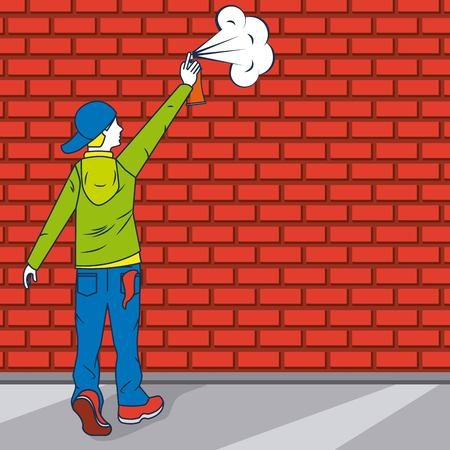 creative idea boy paiting wall vector illustration
