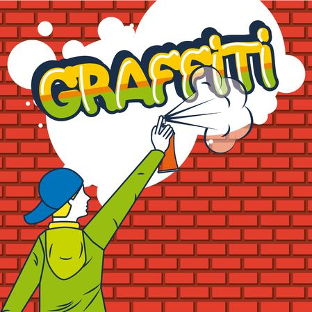 creative idea graffiti boy paiting colors vector illustration