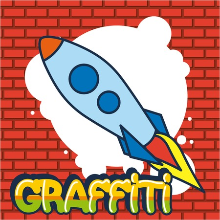 creative idea rocket clearing graffiti bubble vector illustration Imagens - 111780548