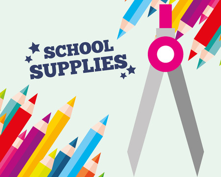 school supplies  compass colors paint sign vector illustration
