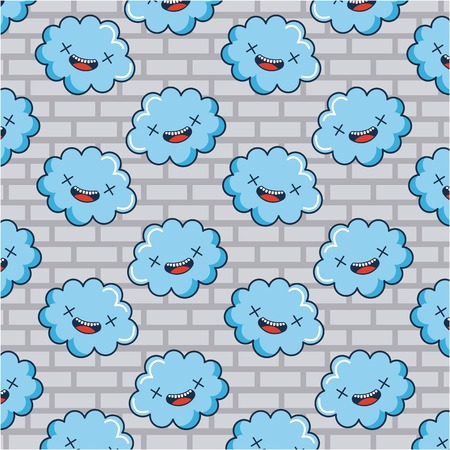 creative idea clouds smiling blue background vector illustration Illusztráció