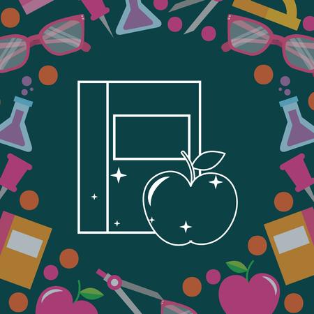 school supplies  apple book tube sciences pins background vector illustration Stock Vector - 106857645