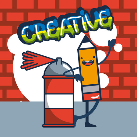 creative idea spray paiting pen smiling bubble vector illustration Иллюстрация