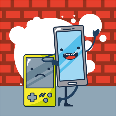 creative idea bubble game  smartphone greeting vector illustration