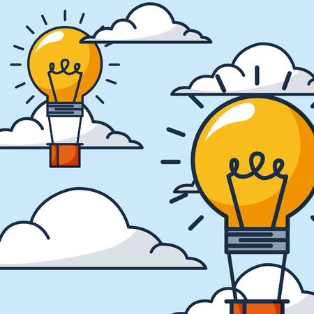 creative idea clouds light bulb hot air balloon vector illustration
