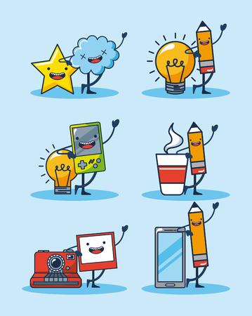 creative idea clouds stars pens  smartphone coffee vector illustration Illustration