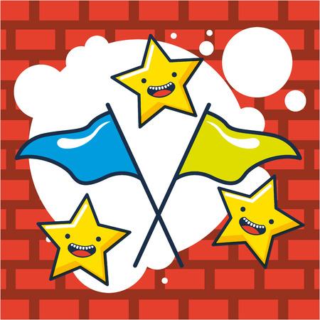 creative idea stars flags colors bubbles vector illustration Illustration