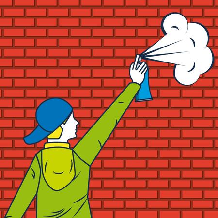 creative idea boy with cap holding spray paiting vector illustration