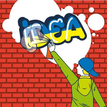 creative idea boy paiting sign bubbles vector illustration