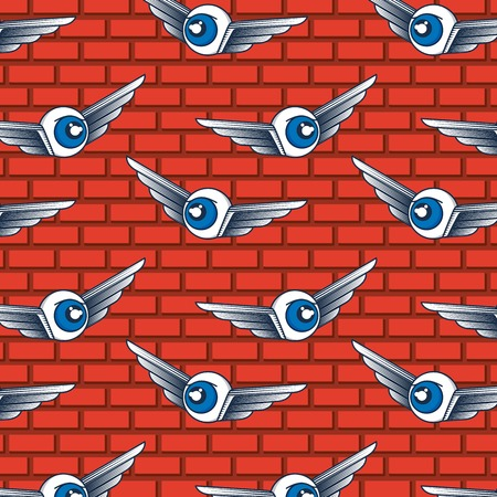 creative idea winged eyes flying background vector illustration