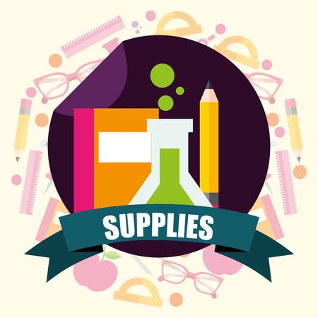 school supplies  sticker book tube sciences pen vector illustration Illustration