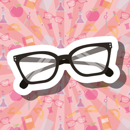school supplies  glasses pink background vector illustration