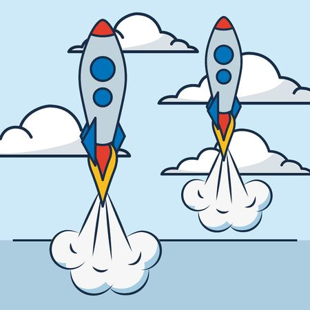 creative idea clouds sky high rockets clearing vector illustration