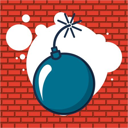 creative idea bomb explot bubbles vector illustration Çizim
