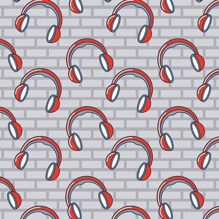 creative idea headphones hear music background vector illustration