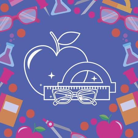 school supplies  apple rules glasses vector illustration Ilustração