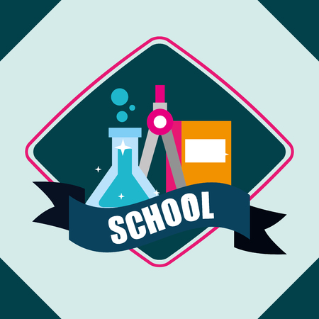 school supplies  figure label tube chemistry book compass ribbon sign vector illustration