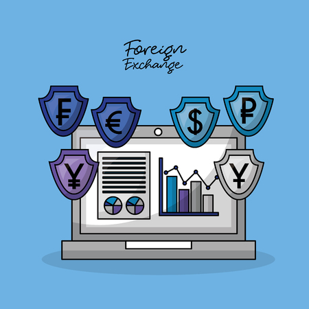 foreign exchange computer shield icon currency statistics vector illustration