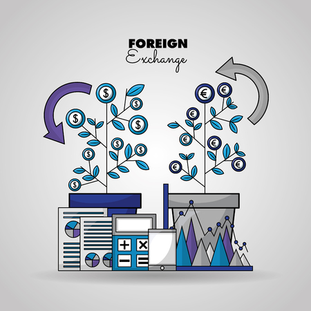 foreign exchange plant leaves dollar euro paper probability statistics calculator smartphone vector illustration Illustration