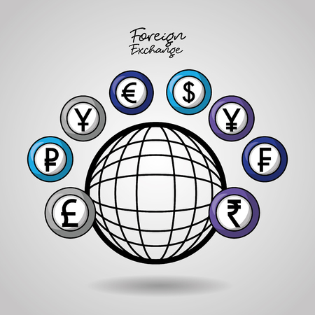 foreign exchange global currency countries financy vector illustration