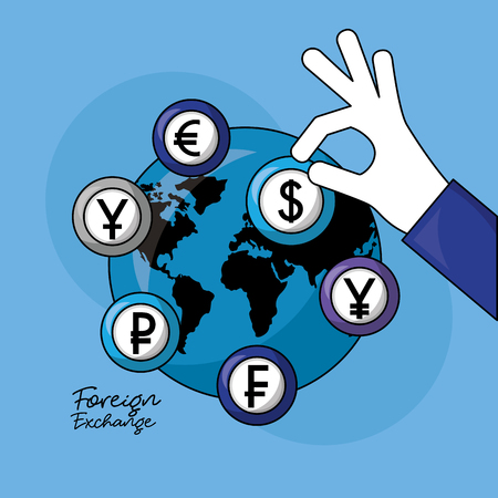 foreign exchange global hand holding currency dollar vector illustration Ilustrace