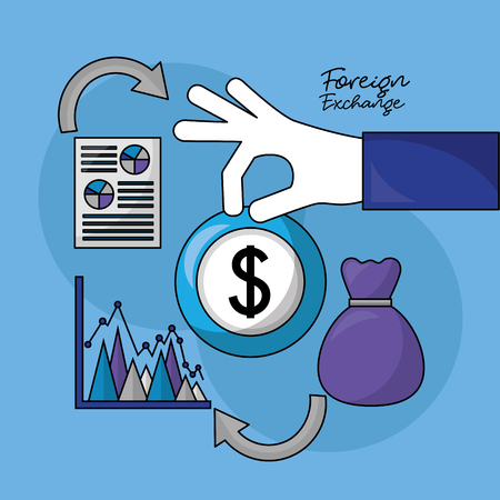 foreign exchange hand holding currency dollar statistics bag paper vector illustration