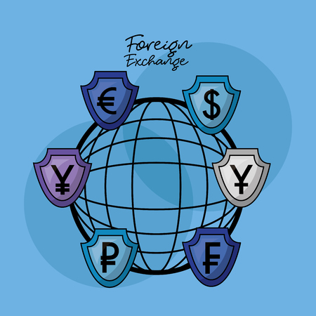 foreign exchange global currency financy vector illustration