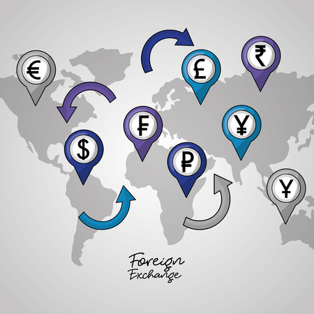 foreign exchange icons locations currency map background vector illustration Ilustração