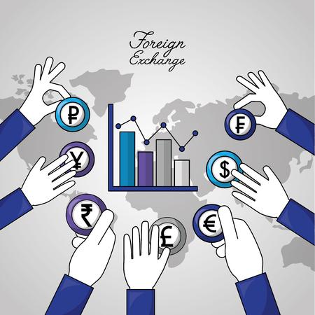foreign exchange statistics hands holding pointed currency vector illustration Ilustração