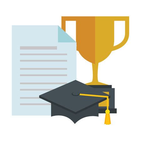 trophy cup with graduation hat and document vector illustration design