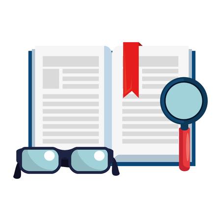 text book with magnifying glass and glasses vector illustration design