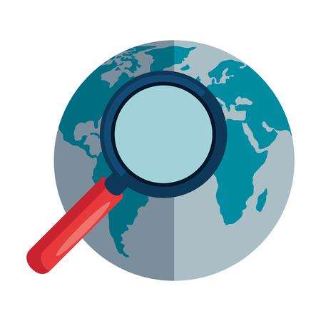 Lupa de búsqueda con diseño de ilustración de vector de planeta mundial Ilustración de vector