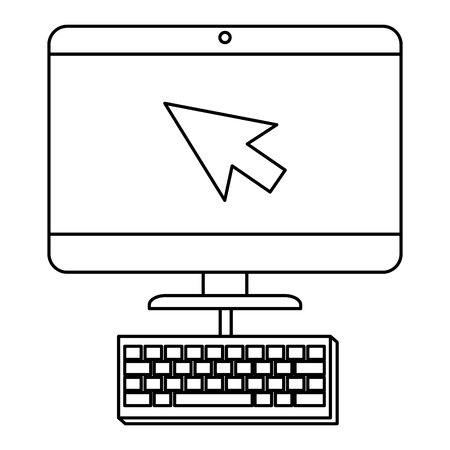 computer desktop with arrow mouse and keyboard vector illustration