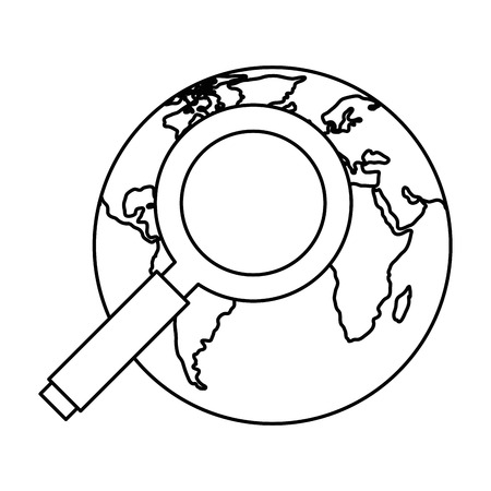 search magnifying glass with world planet vector illustration design