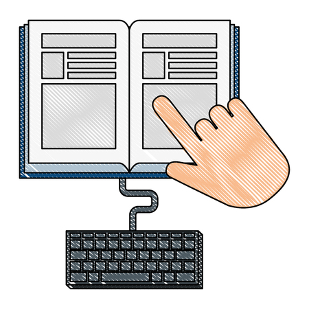 electronic book with hand and keyboard vector illustration design