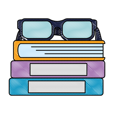 pile text books with glasses vector illustration design