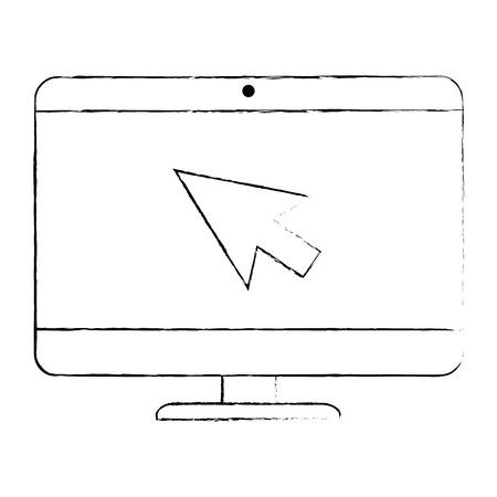 computer desktop with arrow mouse vector illustration design