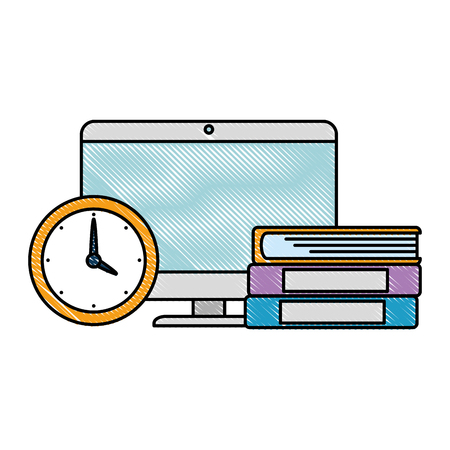 electronic books with computer and watch vector illustration design