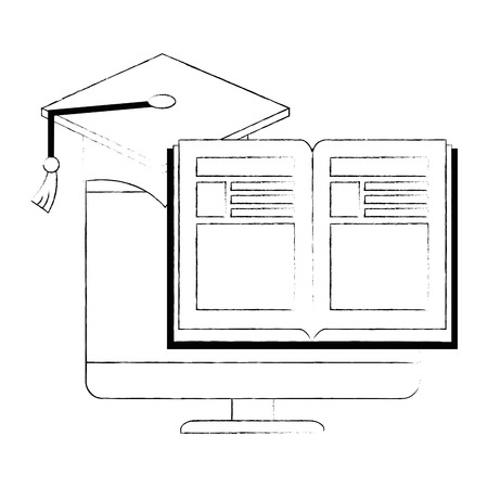 electronic book with computer and hat graduation vector illustration design