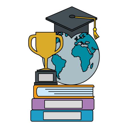 Pile de livres avec trophée et conception d'illustration vectorielle planète