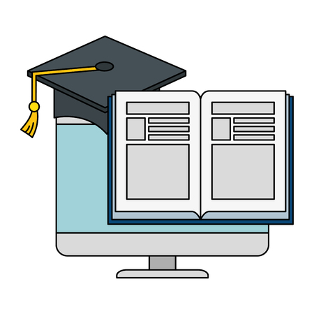 electronic book with computer and hat graduation vector illustration design Banque d'images - 111722028