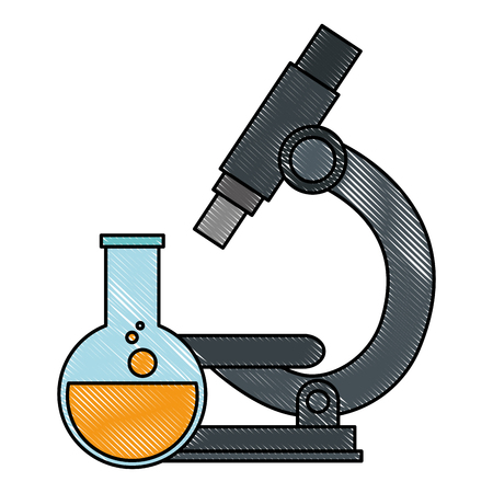 microscope laboratory with tube test vector illustration design Banque d'images - 111722039