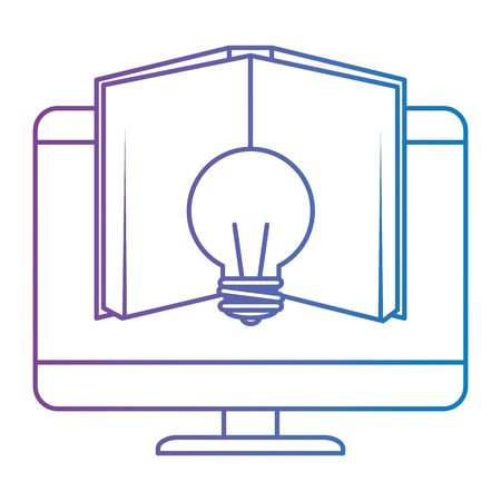 electronic book with computer and bulb vector illustration design