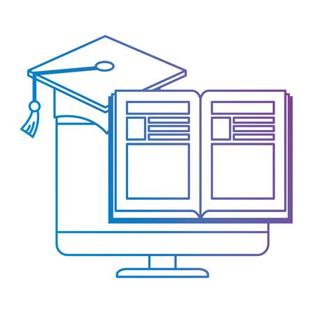 livre électronique avec ordinateur et chapeau design illustration vectorielle graduation Vecteurs