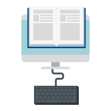 electronic book with computer and keyboard vector illustration design