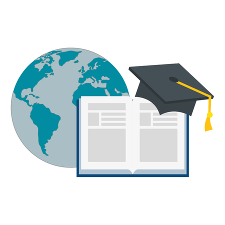 text book with hat graduation and world planet vector illustration design