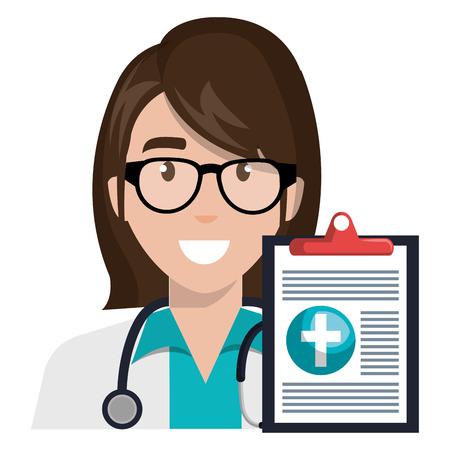Doctor mujer con diseño de ilustración de vector de personaje de portapapeles